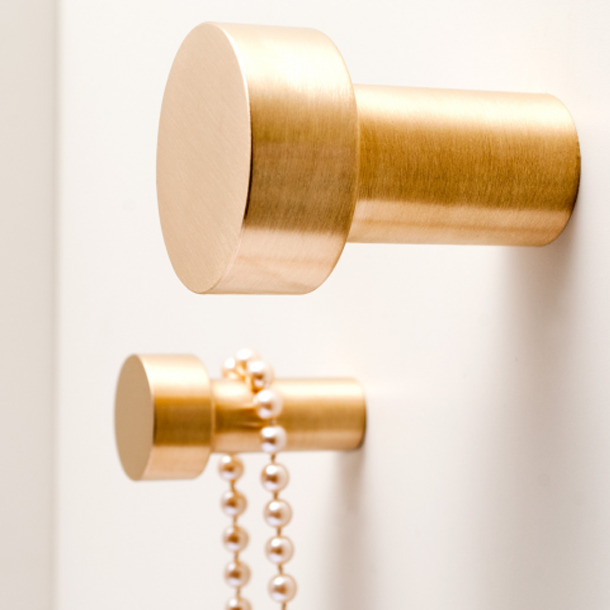 Brushed brass hooks