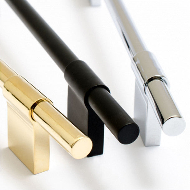 Black, Brass, and Stainless linear cabinet handles