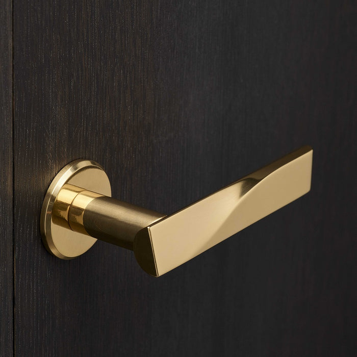 Elegant brass lever handle with circle rose on dark wood door. Beautifully and functionally designed.