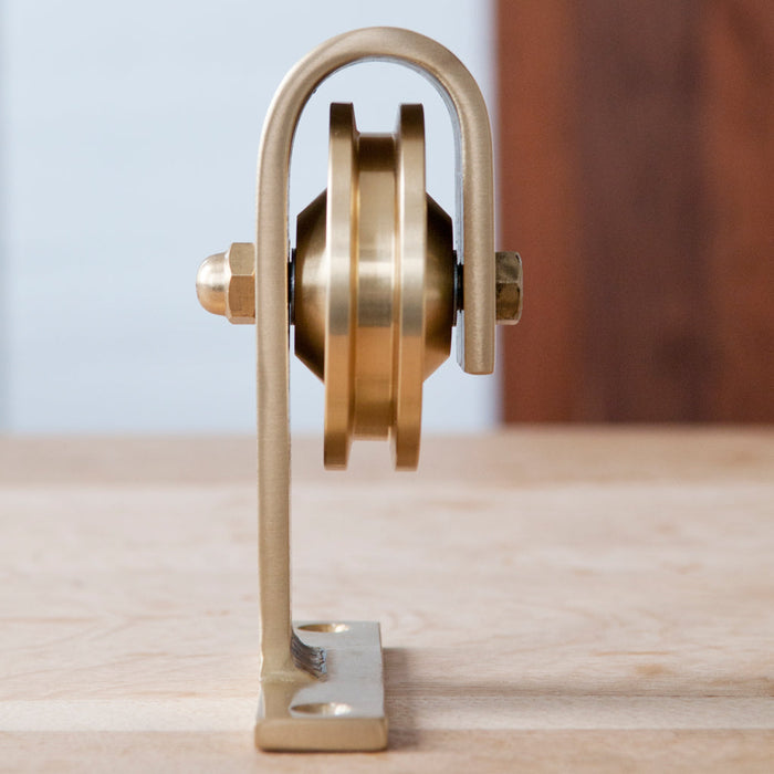 Brass Barn Door Hardware side detail