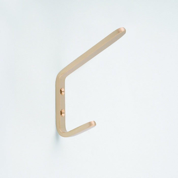Brushed Brass Double Hook. Made in Toronto, Canada. On side.