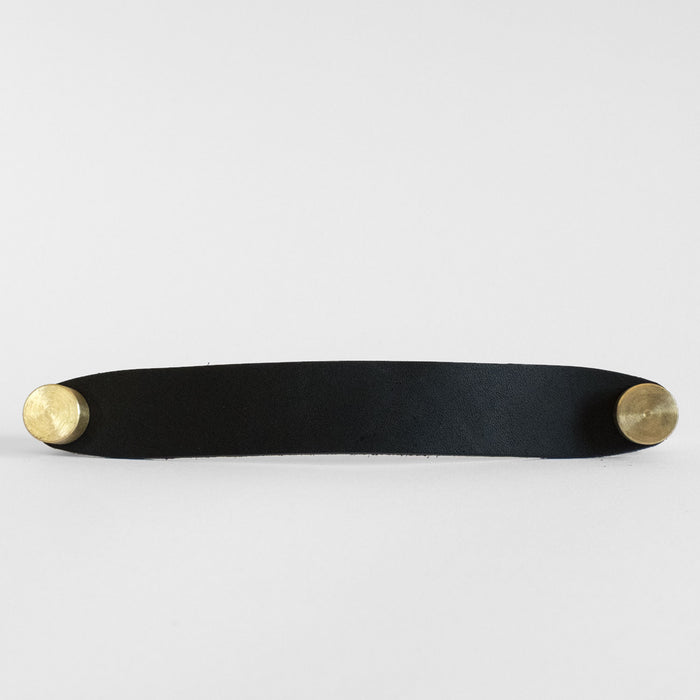 Black Leather and Brass Modern Cabinet Handle
