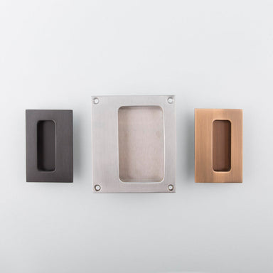 Charlie Flush pull made in Toronto. Modern hardware in a variety of finishes.