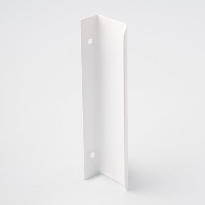 Long white tab pull for cabinets. Simple and minimal hardware. Made in Toronto. From the back.