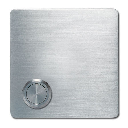 Modern Doorbell in Stainless Steel. A square shape with offset button.