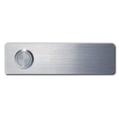 modern brushed stainless doorbell. Small and rectangular in shape.