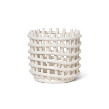 White Ceramic Woven basket from Ferm Living