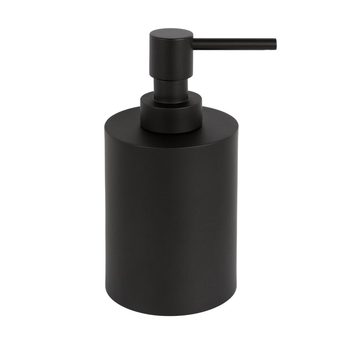 A black soap dispenser that's minimal and sleek