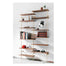 Modern and elegant brass and wood shelving system