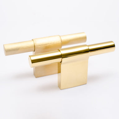 Elegant T-shaped solid brass knobs available in brushed and polished finishes.