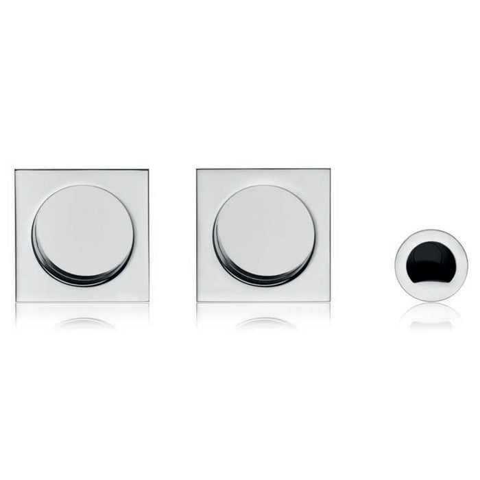 Polished chrome pocket door hardware made in Italy
