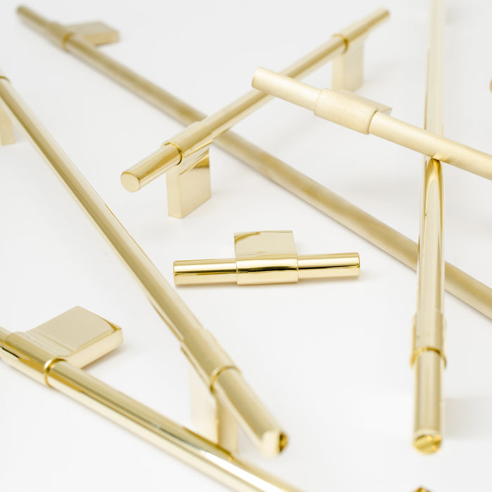 Linear and minimal cabinet pulls by Baccman and Berglund.