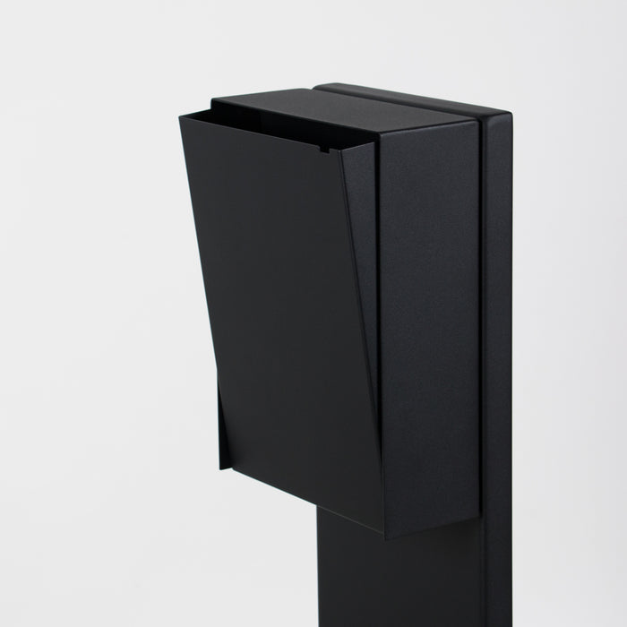 Modern black mailbox with stand