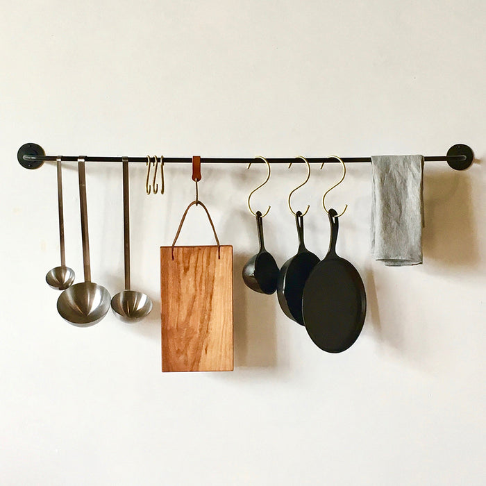 Rustic Brass Hooks in Kitchen