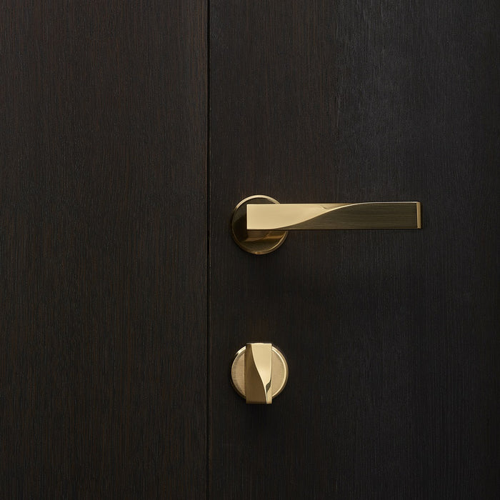 Elegant brass lever handle and thumb turn with circular roses on dark wood door. Beautifully and functionally designed.
