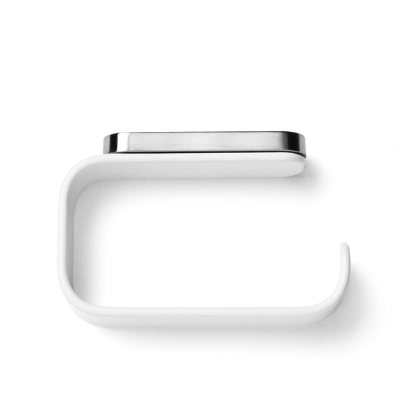 This modern toilet roll holder, available in white, is designed for Menu, by Norm Architects.