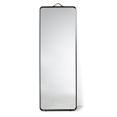 Modern and minimal floor length mirror with black frame. Designed by Norm Architects for Menu