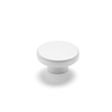 A white bathroom knob that is minimal in design.
