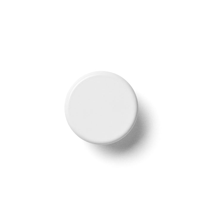 A white bathroom knob that is made of powder coated steel, it is sturdy enough to hold towels.