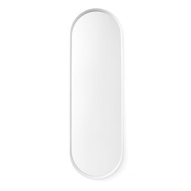 An oval wall mirror with a white powder coated frame. Designed by Norm Architects, for Menu.