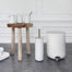 Modern white bath collection including trash bin. Danish Design by Norm Architects for Menu.