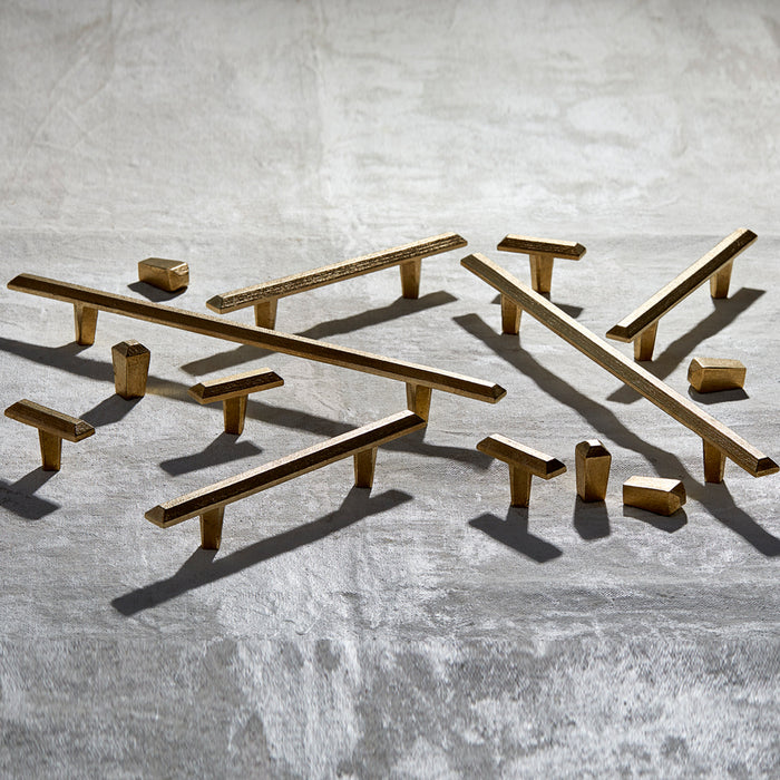 Full Pyra Collection of modern bronze knobs and handles. Made in Toronto.