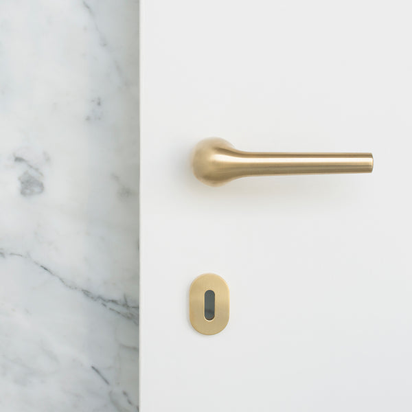 Modern Rene Door Lever Handle in Brass by Maison Vervloet