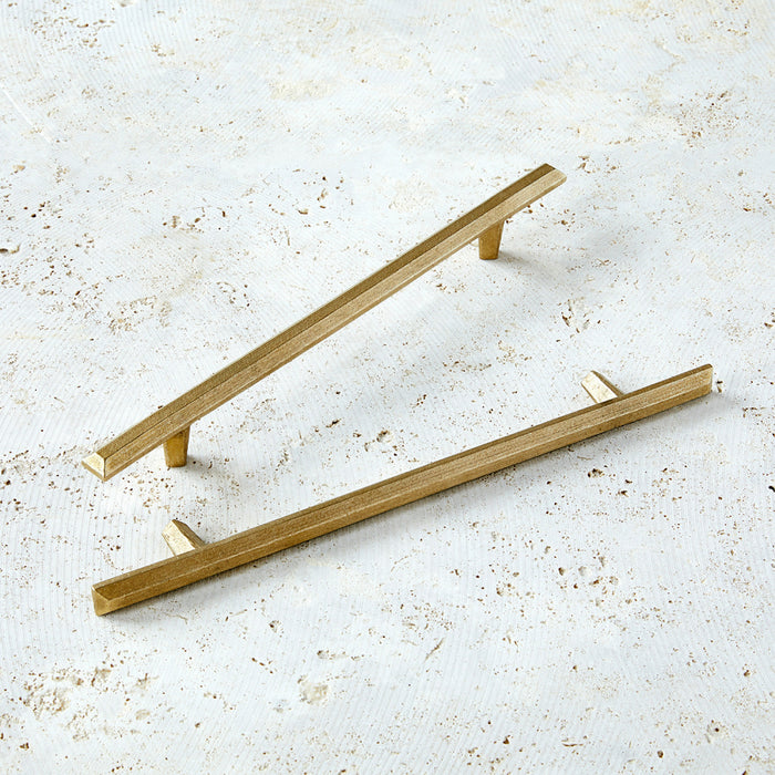 "12"" cabinet handles in bright bronze with modern shape."