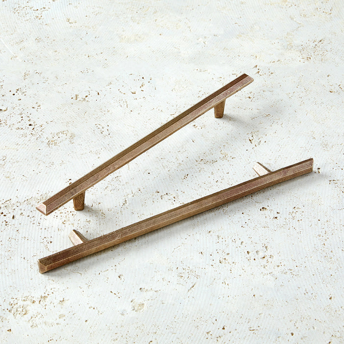 "12"" cabinet handles in warm bronze with modern shape."