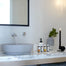 Modern bathroom with concrete vessel sink. Beautiful washbasin design.