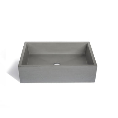 Modern and minimal rectangular concrete sinks.