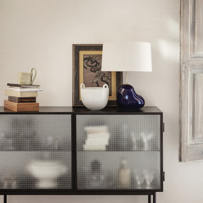 sideboard with wired glass