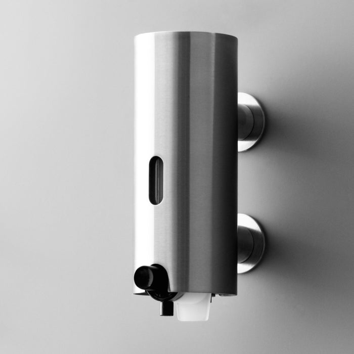 The Knud Soap Dispenser is part of the sanitary line by d line and is available for residential or commercial use.  Available in a variety of finishes including polished or satin stainless steel.