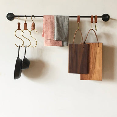 Leather and brass hooks