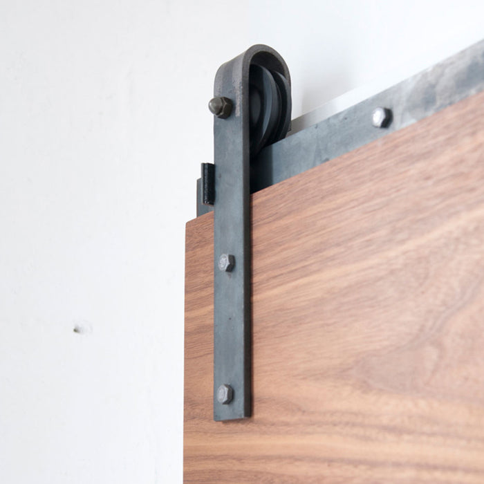 face mount raw steel barn door hardware