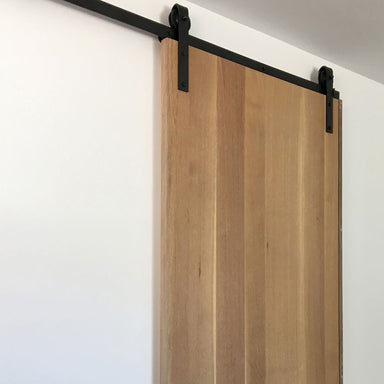 black face mount barn door hardware
