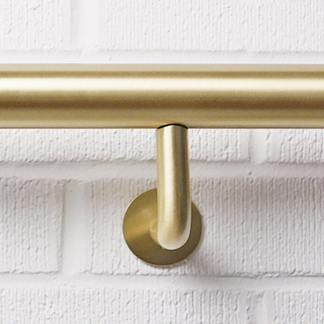 Beautiful Satin Brass Modern Handrail Brackets made in Toronto
