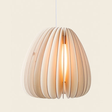 Voluminous wooden pendant