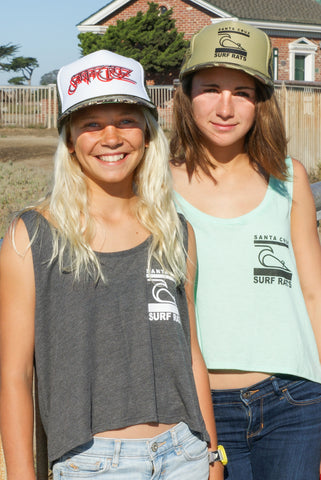 Jr's cropped tanks with Surf Rats logo
