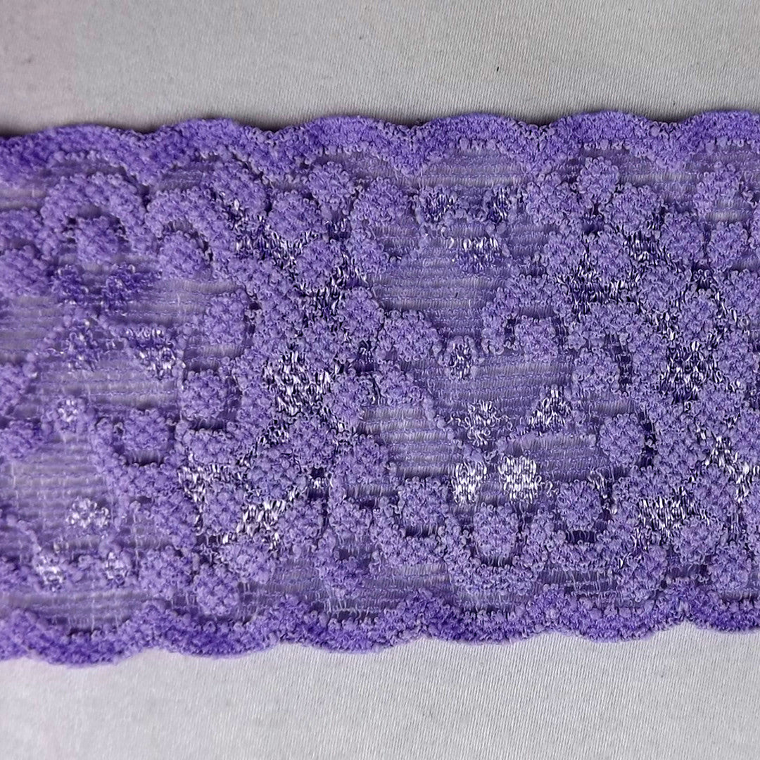 20 Yards Stretch Lilac Floral Scalloped Lace 2 1/4
