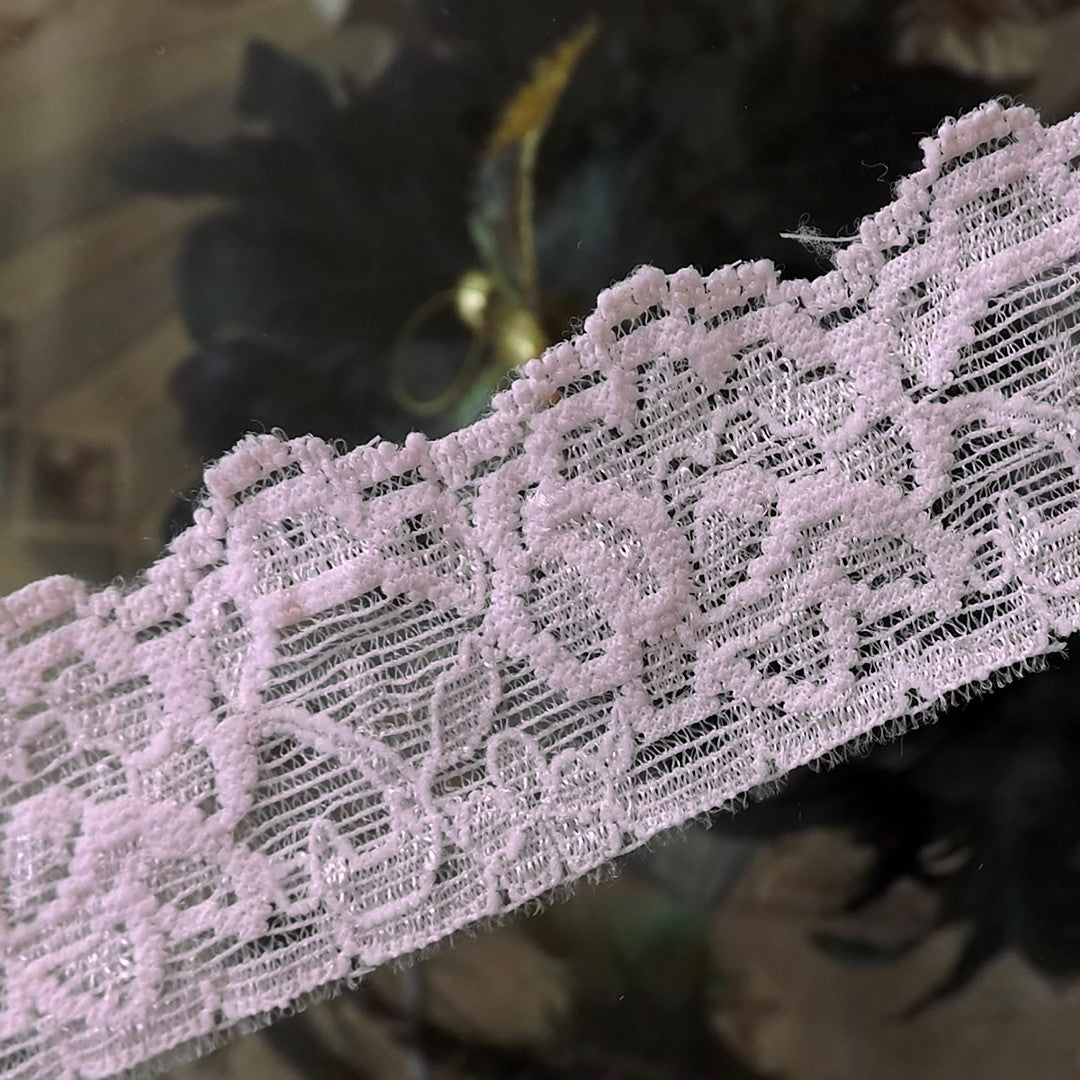 20 Yards Stretch Pink Floral Scalloped Lace 1 3/4