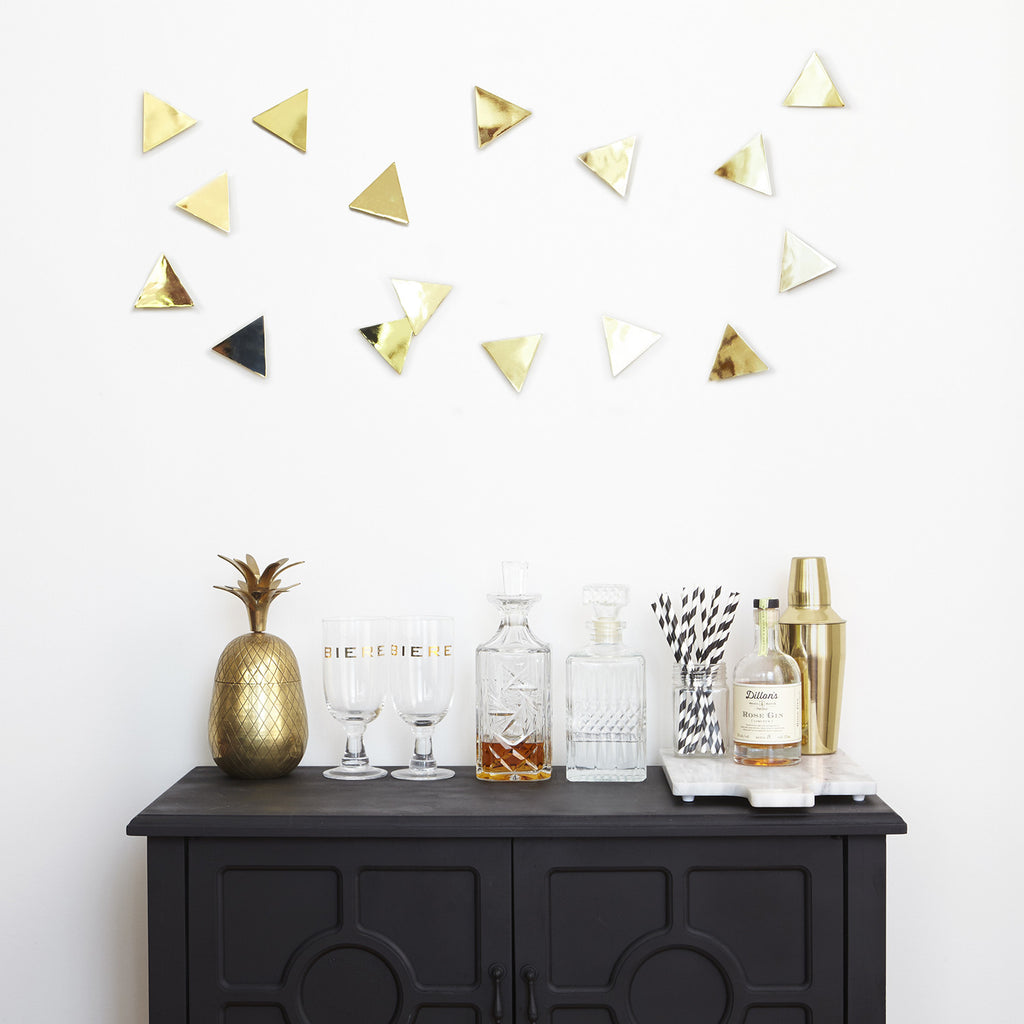 Confetti Triangles Wall Decor Brass