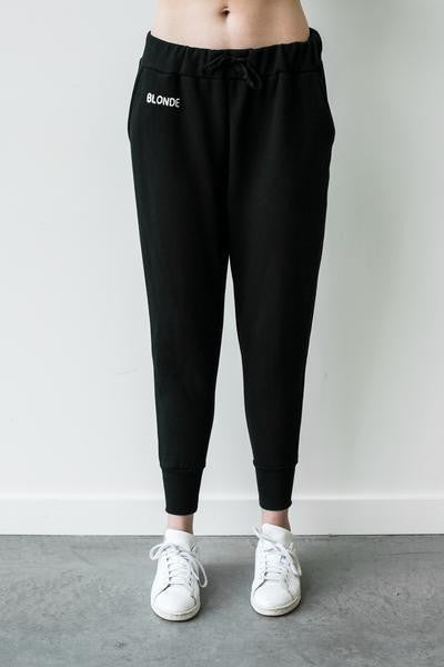 """Middle Sister"" BLONDE Chain Stitch Jogger In Black"