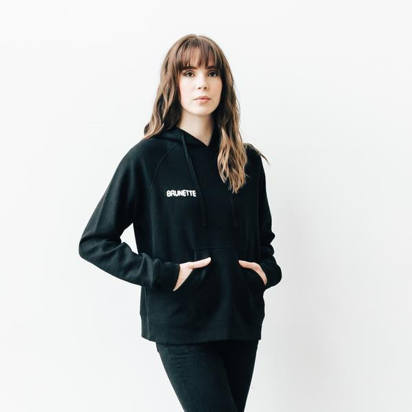 """Middle Sister"" BRUNETTE Chain Stitch Hoodie In Black"