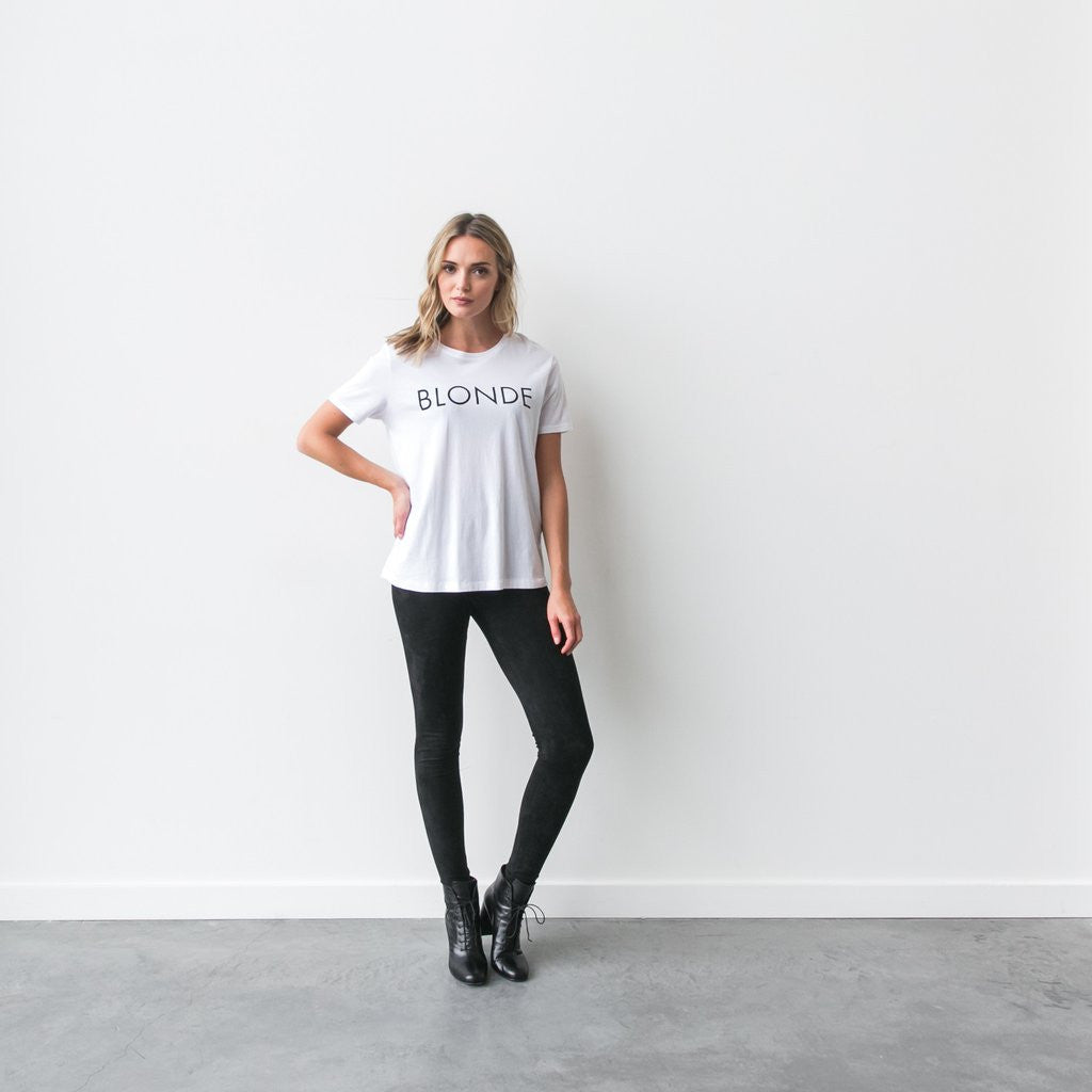 """Ryan"" Blonde Crew Neck Tee White"