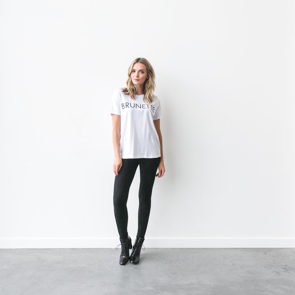 """Ryan"" Brunette Crew Neck Tee White"