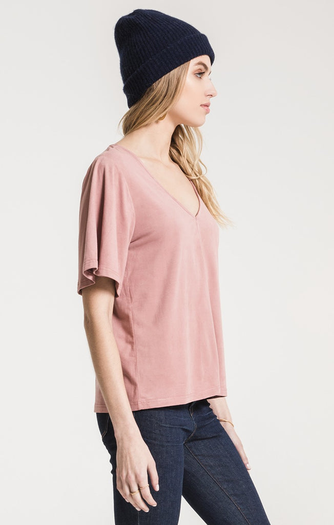 The Faux Suede Flutter Tee