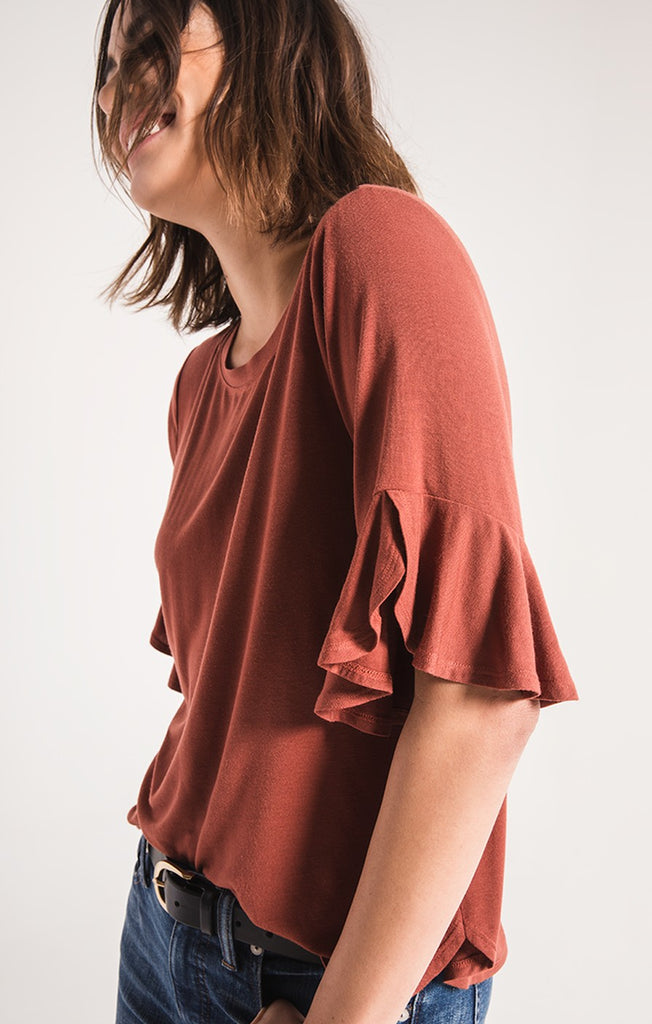 The Premium Sleek Jersey Ruffle Tee
