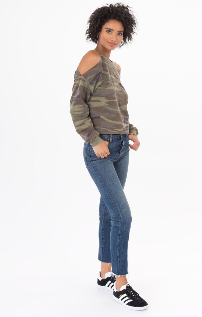 The Camo Cold Shoulder Pullover