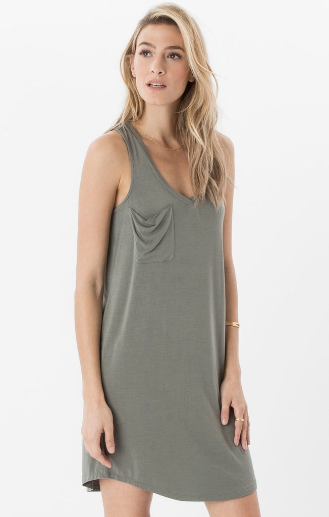 The Pocket Racer Tank Dress Ash Green